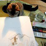 Chat curieux en atelier