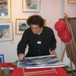 Démo aquarelle à la galerie La Côte Rouge à Caen