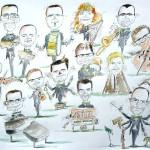 Caricatures du staff d'un grand magasin au complet en orchestre